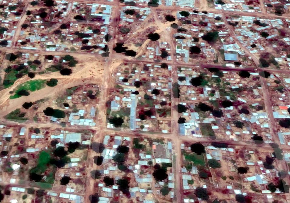 Une vue aérienne de la ville d'Adré à l'Est du Tchad. © DR