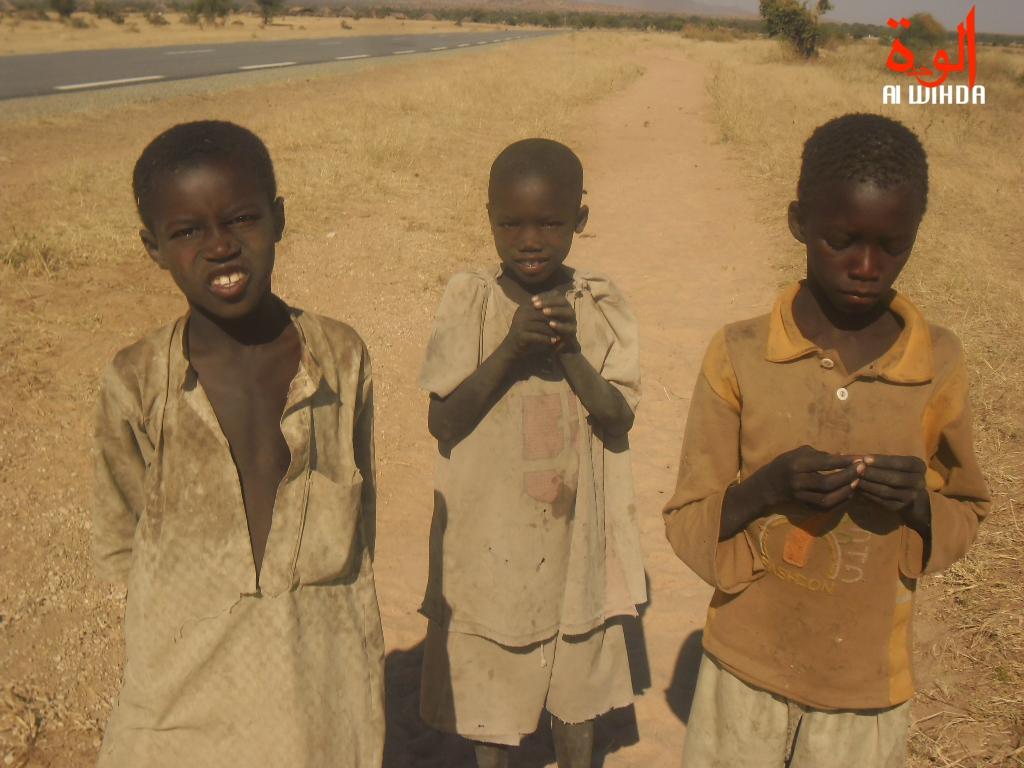 Des enfants au bord d'une route, au Nord-Est du Tchad. Illustration © Alwihda Info
