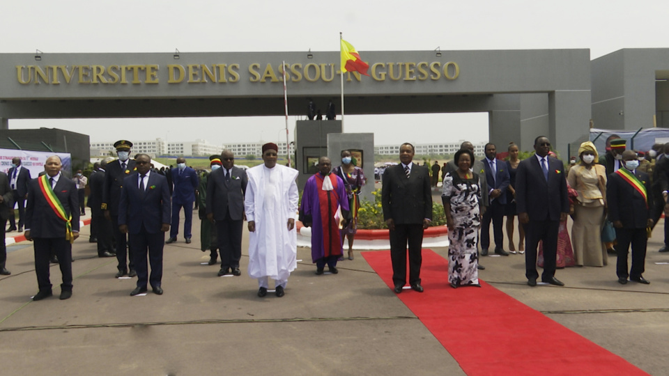 Les chefs d'Etat à l'inauguration de l'université Denis Sassou N'Guesso.