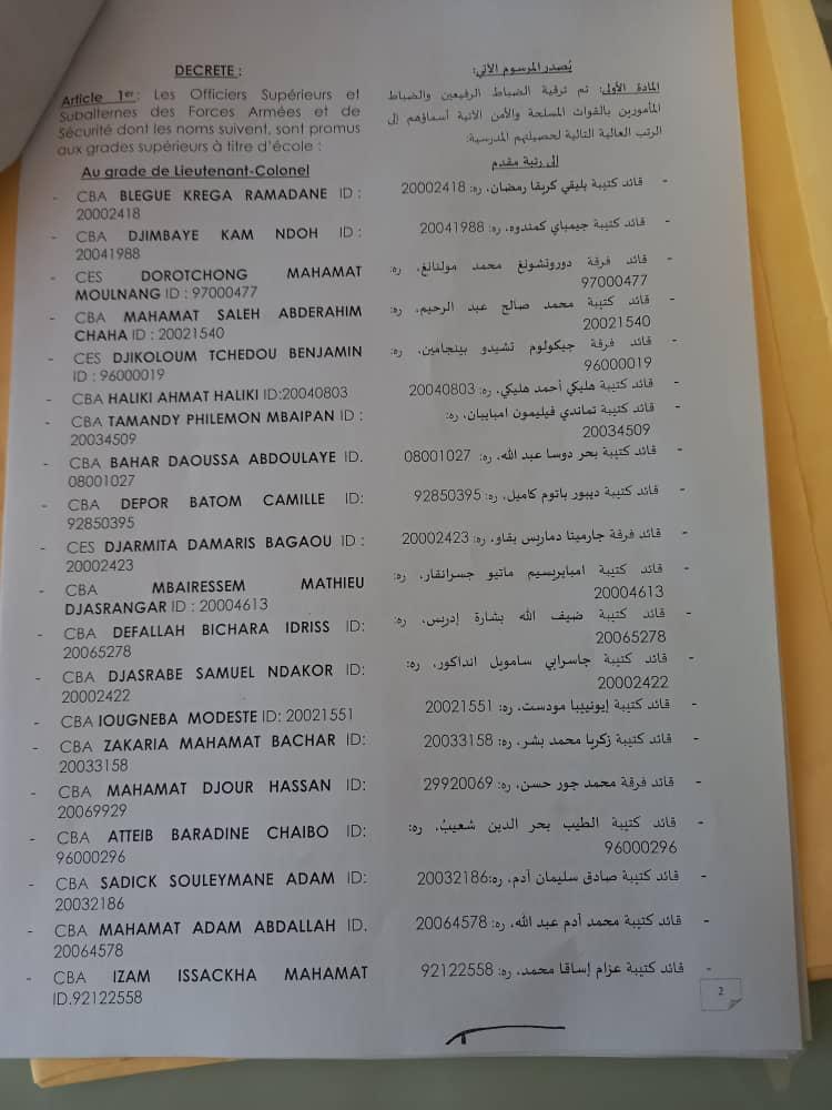 Tchad : plus de 130 officiers élevés à des grades supérieurs