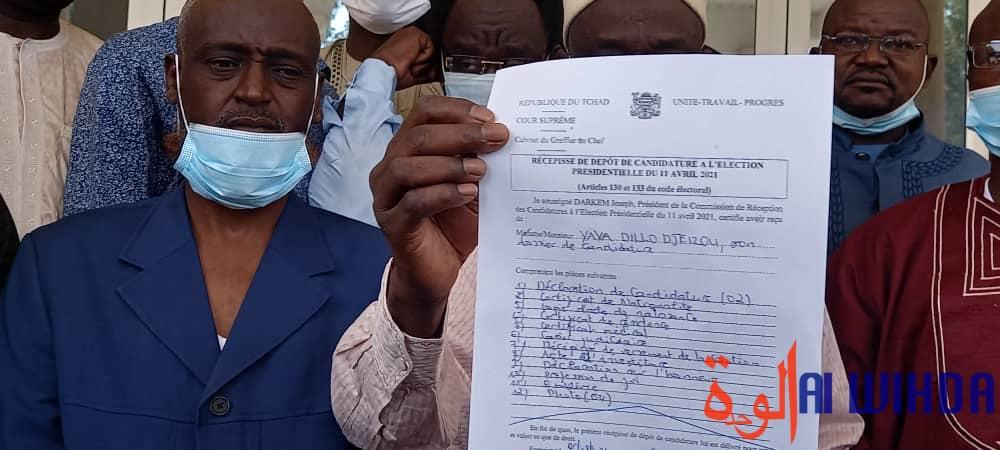 Dépôt de candidature de Yaya Dillo le 26 février à la Cour suprême de N'Djamena. Illustration ©Mahamat Issa Gadaya/Alwihda Info