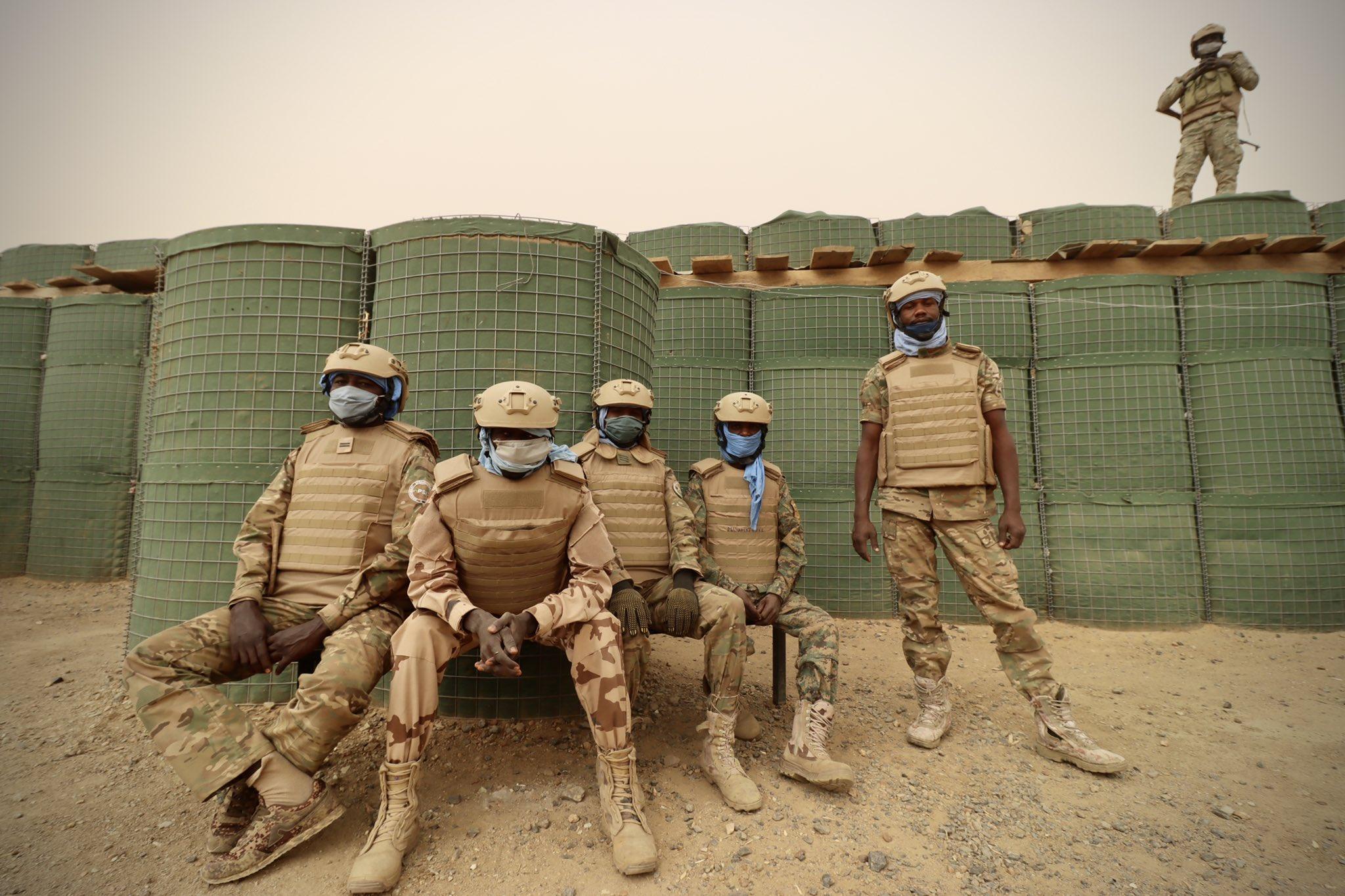 Des soldats du contingent tchadien à Tessalit, au Mali. Illustration © MINUSMA