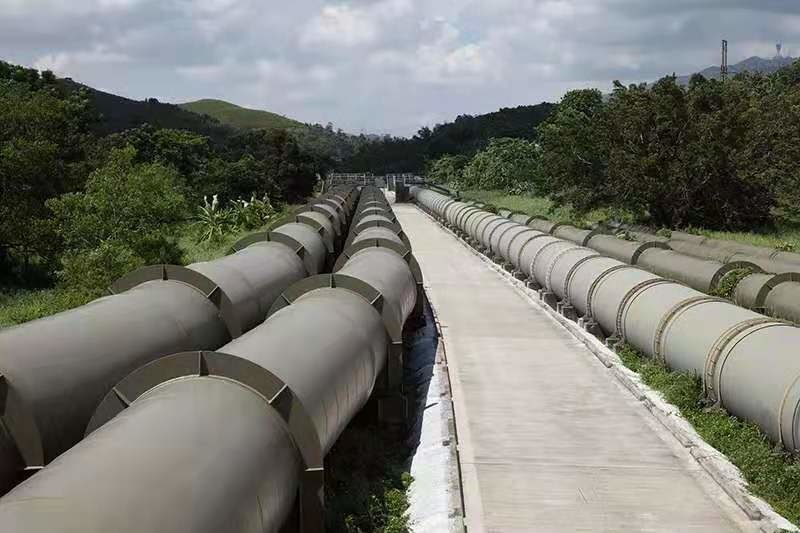 Photo shows dedicated pipelines of the Dongjiang-Shenzhen Water Supply Project. (Photo/Water Resources Department of Guangdong Province)