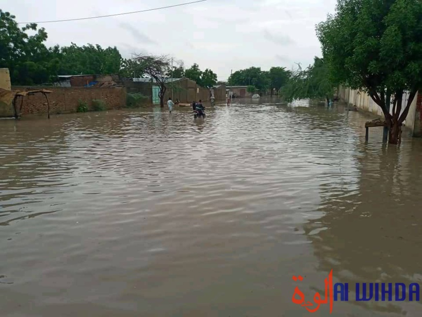 Des inondations après une forte pluie à N'Djamena le 22 juillet 2021. © Mahamat Issa Gadaya/Alwihda Info