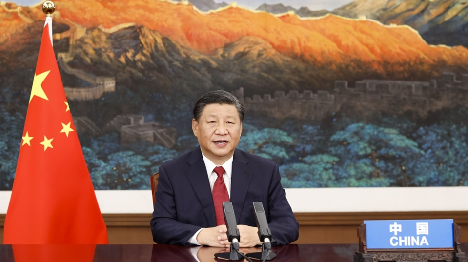 """Chinese President Xi Jinping attends and delivers a speech titled """"Bolstering Confidence and Jointly Overcoming Difficulties to Build a Better World"""" at the general debate of the 76th session of the UN General Assembly via video link, Sept. 21, 2021. (Photo by Huang Jingwen/Xinhua)"""