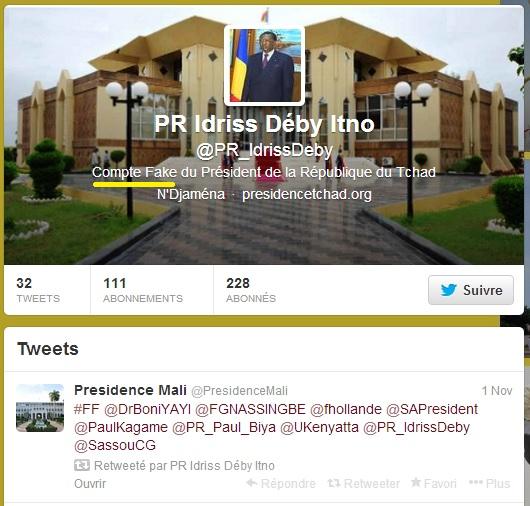 """Twitter : La Présidence du Mali recommande le compte """"fake"""" d'Idriss Déby"""