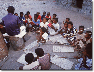 École coranique à Randa, village au nord-ouest de Djibouti*, république de Djibouti. Crédit photo :  http://b.brahim.free.fr