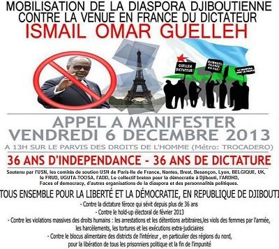 Les djiboutiens se préparent à manifester à Paris le 6 décembre 2013