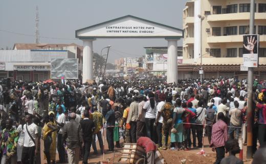 Une manifestation contre Michel Djotodia, le Président de la Transition. Photo non datée. Crédit photo : Sources