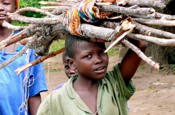 Un petit garçon transporte du bois. Papoua, nord de la République centrafricaine. Crédit: Hdptcar/Flickr, 2007.