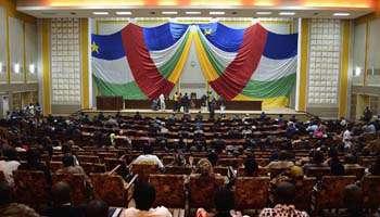 Les membres du Conseil national de transition (CNT), le 14 janvier à Bangui. © AFP