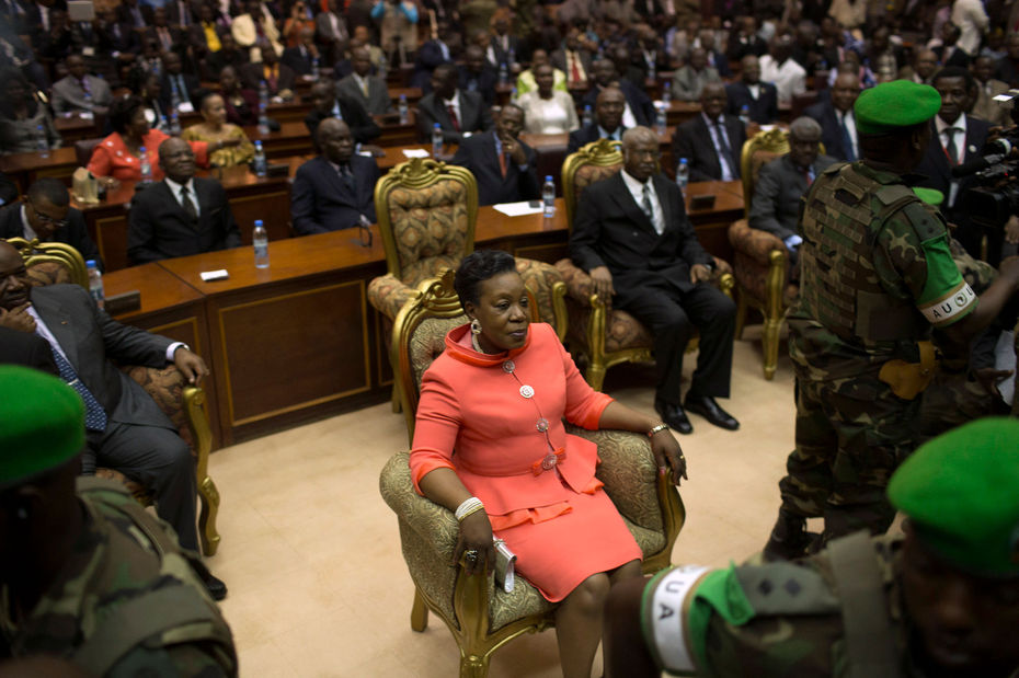 Catherine Samba-Panza lors de son investiture, à Bangui - 23/01/2014 REUTERS/ Siegfried Modola