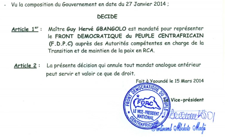 Centrafrique : Le FPDC nomme un représentant pour négocier avec le pouvoir