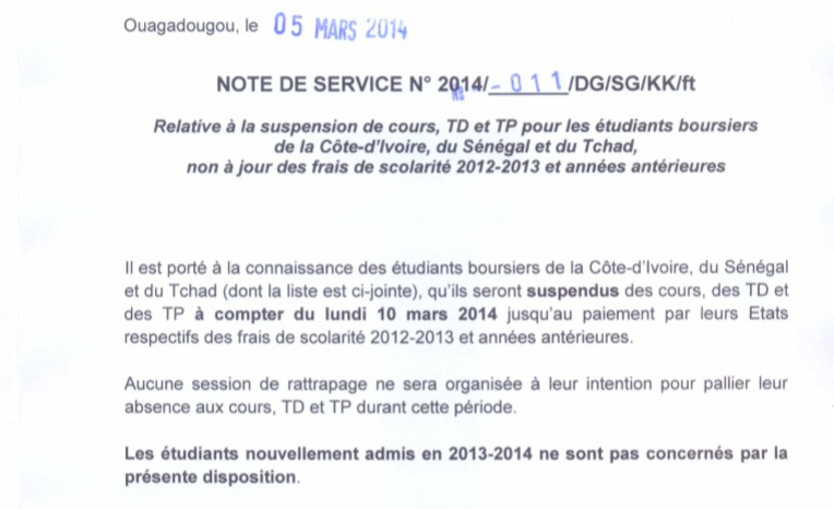 Burkina Faso :  400 étudiants tchadiens suspendus à cause du Tchad