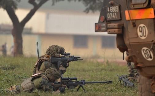 Des soldats français de l'opération Sangaris à Bangui le 25 décembre 2013 Crédit : AFP / MIGUEL MEDINA
