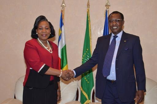 La Présidente Catherine Samba Panza (gauche) et son Idriss Déby (droite). Crédit photo : Sources