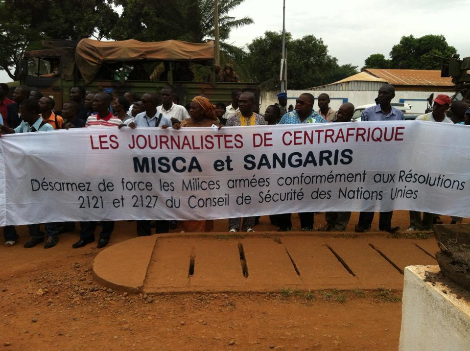 Marche des journalistes centrafricains ce matin à Bangui. Diaspora Media