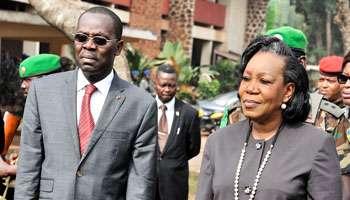 Catherine Samba-Panza et son Premier ministre, André Nzapayéké, à bangui, le 5 février. © Issouf Sanogo/AFP