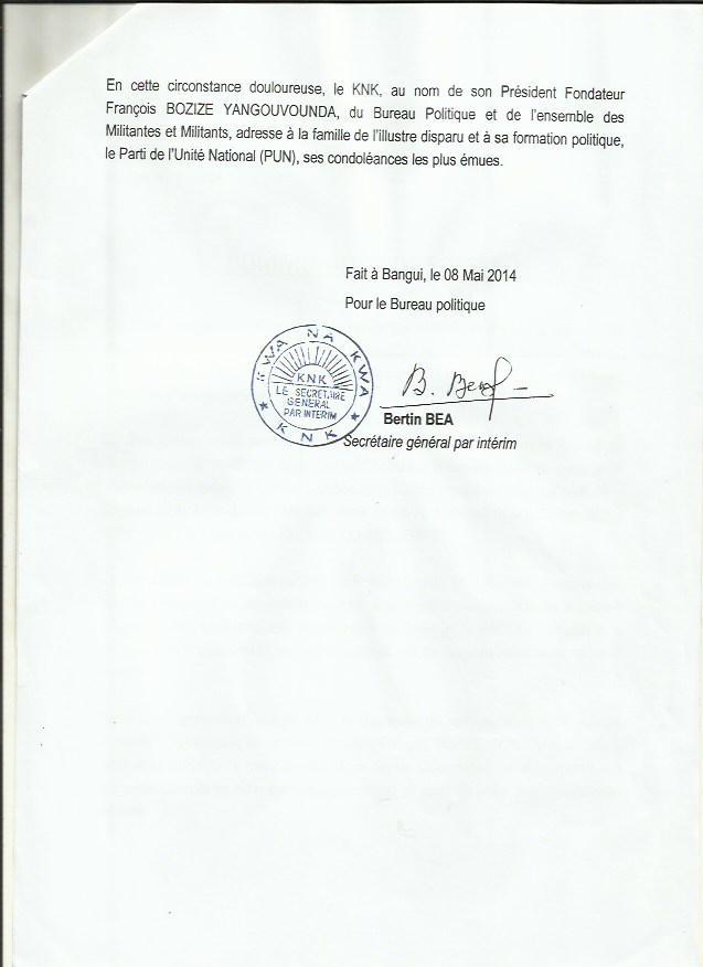 Le parti de Bozizé rend hommage à Jean-Paul Ngoupande