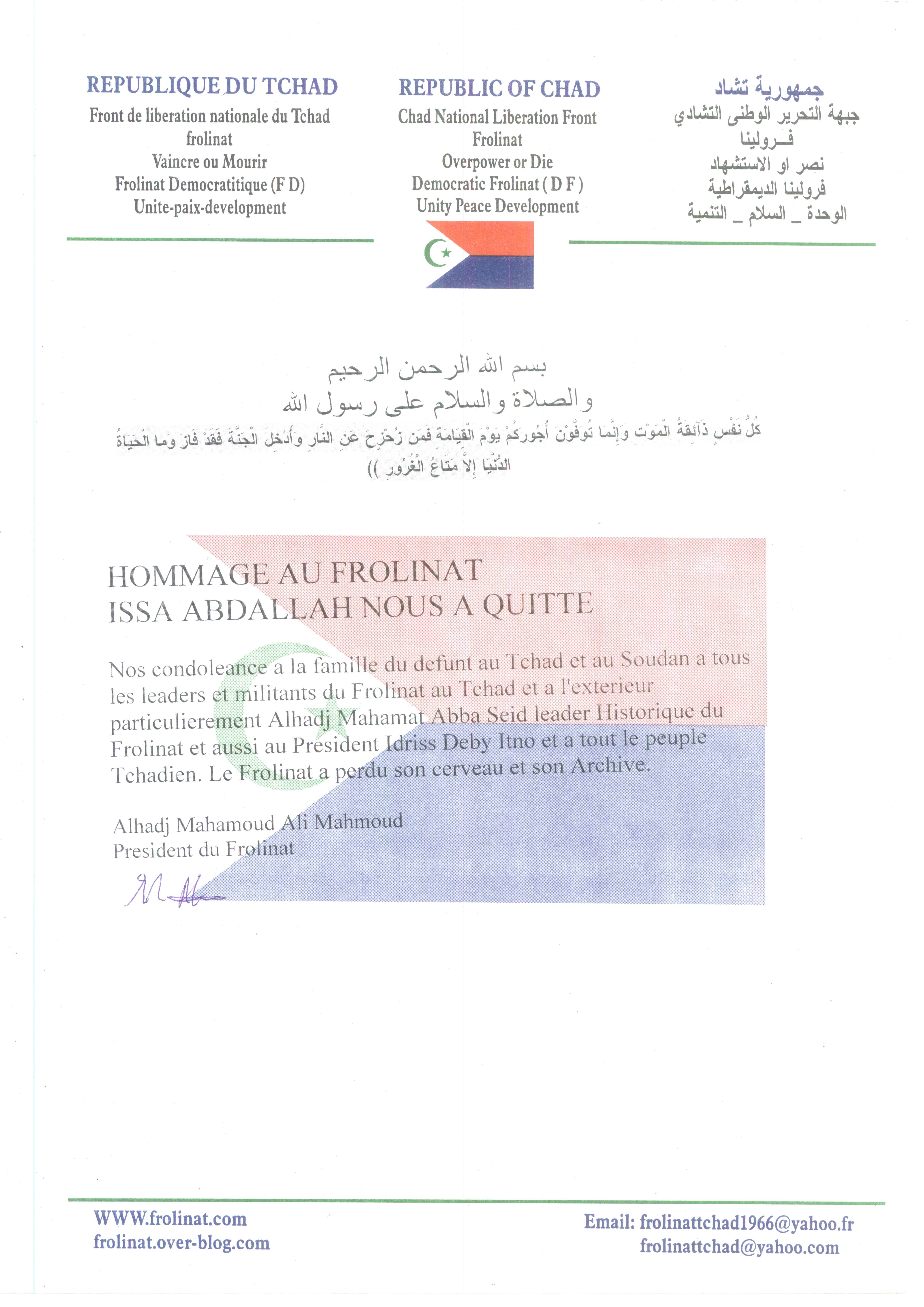 Tchad : Le FROLINAT rend hommage à Issa Abdallah