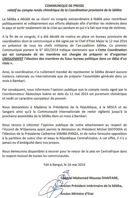 Centrafrique : Communiqué de la coalition Séléka