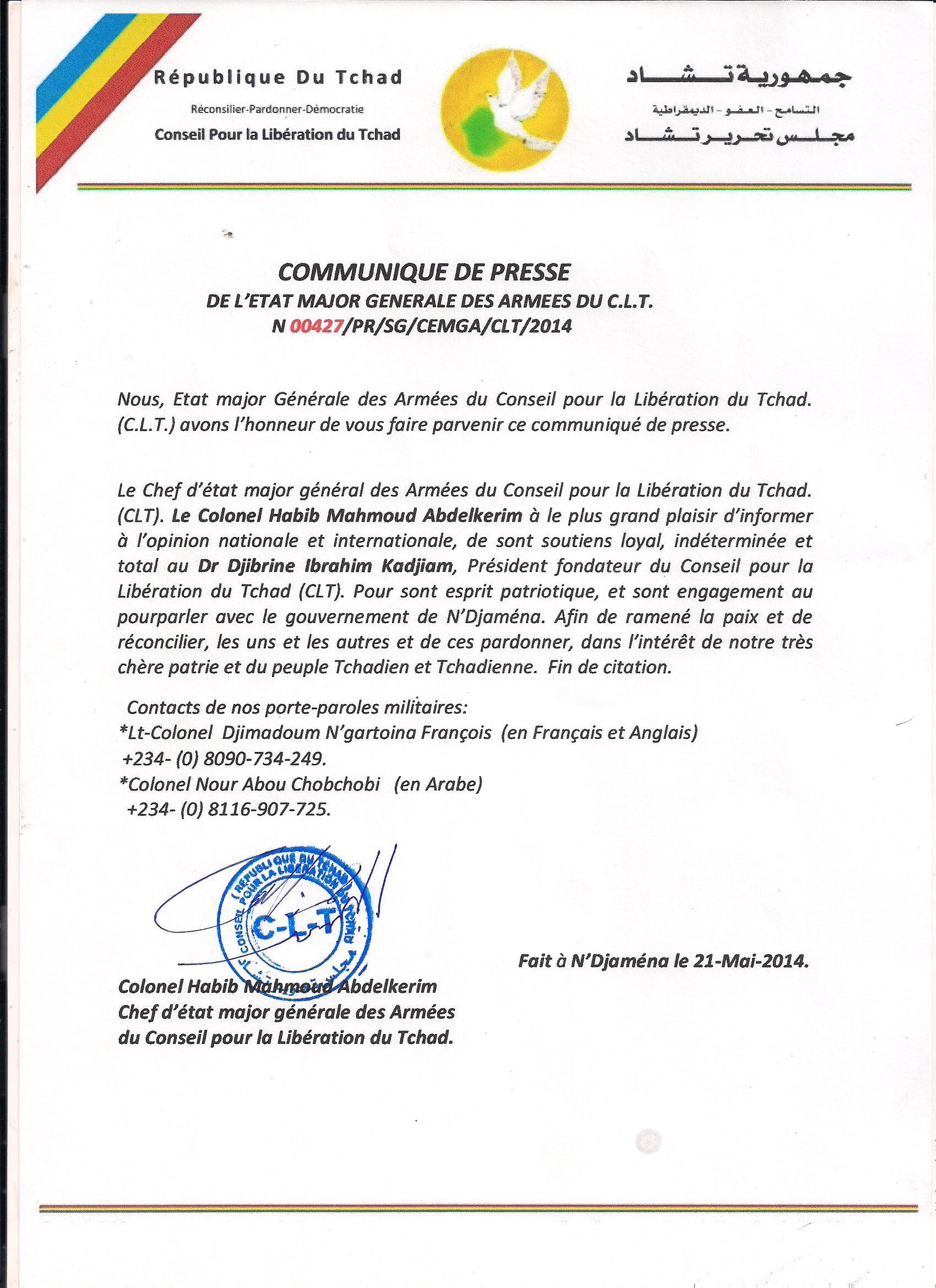 Tchad : Le C.L.T se félicite de pourparlers avec le gouvernement (Communiqué)