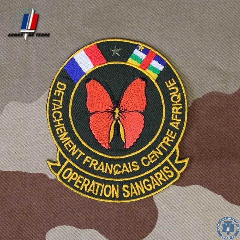 Badge du détachement français en République Centrafricaine - Opération Sangaris Crédits photo : Tranchée militaire