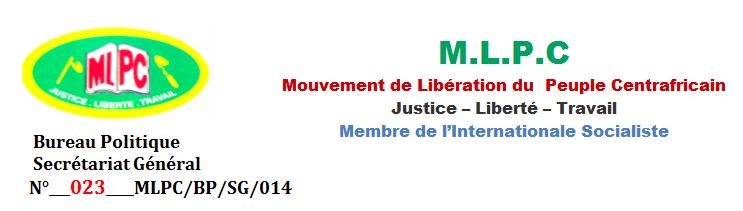 Centrafrique : Le MPLC réagit face aux contre-vérités propagées par la presse contre Ziguélé