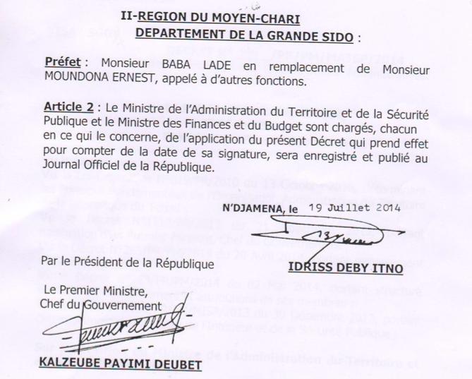 Tchad : Nommé préfet, Baba Ladé promet développement et aide aux réfugiés de RCA