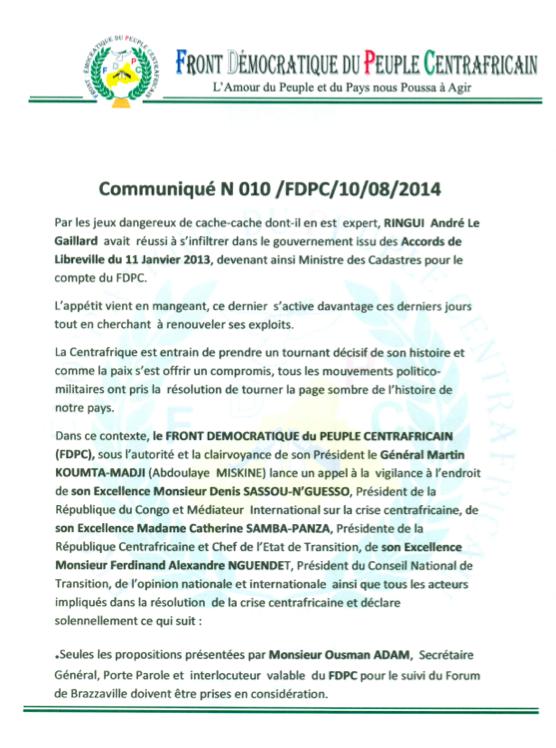 RCA : Le groupe armé FDPC appelle à la vigilance pour la formation du gouvernement