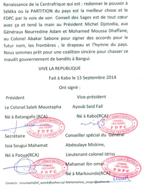 RCA : Le conseil des sages du FDPC déclare la guerre au pouvoir et fait allégeance au FPRC