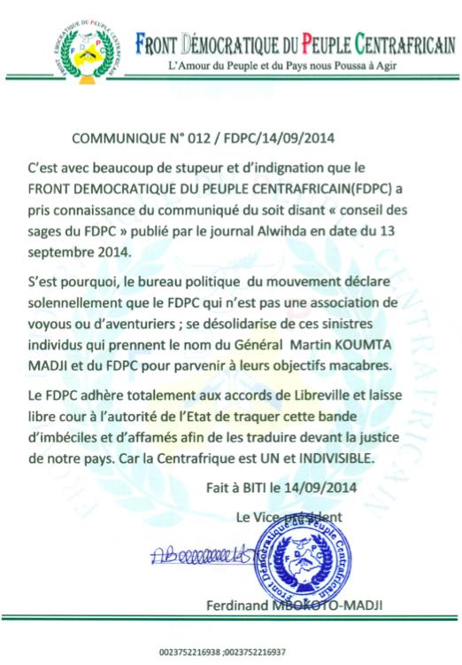 """RCA : Le FDPC désavoue le """"Conseil des sages"""" et veut traquer cette """"bande"""""""