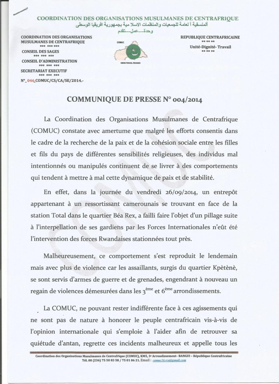 Bangui : Appels au calme suite à des incidents au PK5