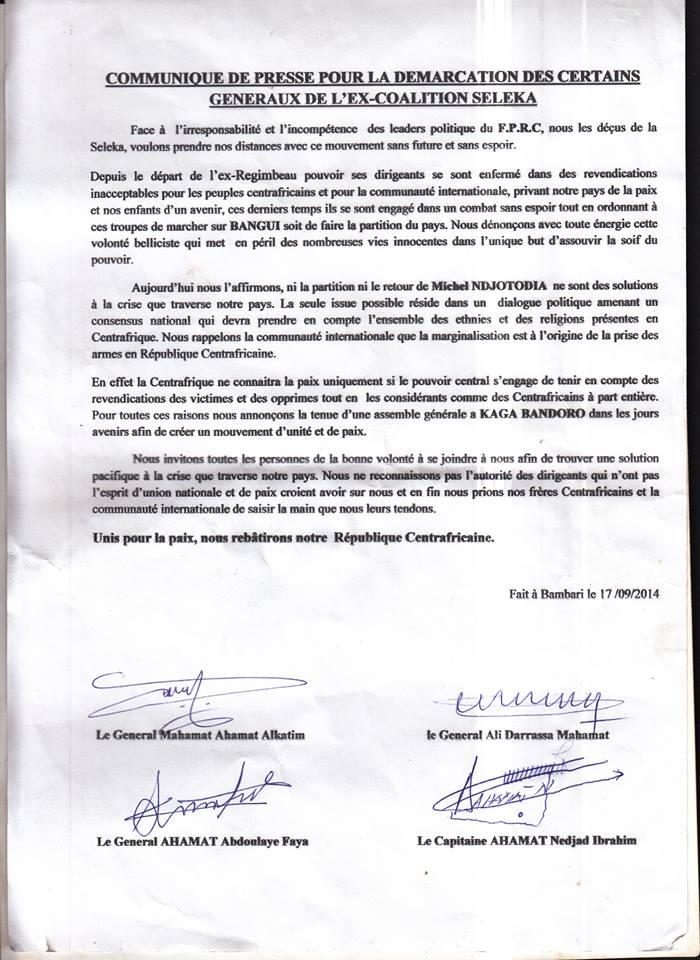 RCA : Trois généraux de l'ex-Séléka vont créer un mouvement dans les prochains jours