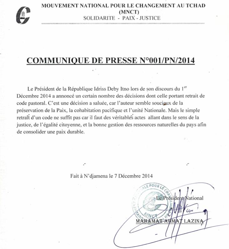 Tchad : Le parti MNCT demande de véritables actes pour consolider la paix