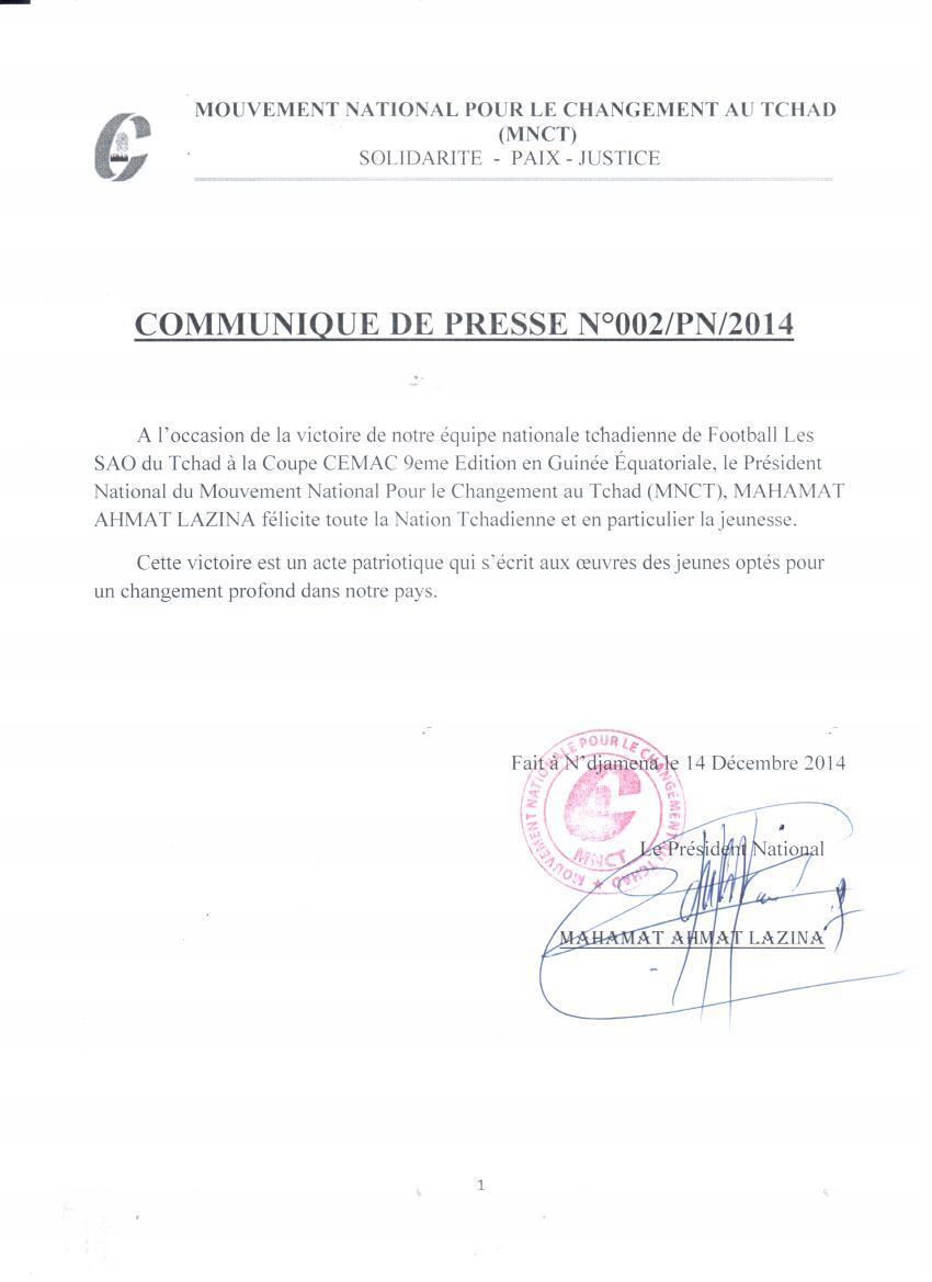 Tchad : Le MNCT félicite les SAO pour leur victoire