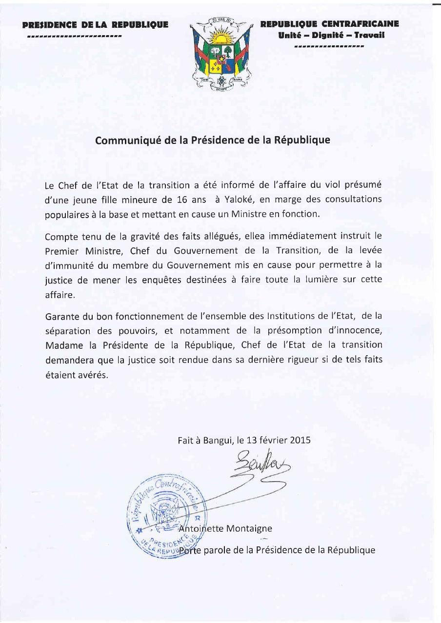 Communiqué de presse du  CPR n°7, du 14.02.2015