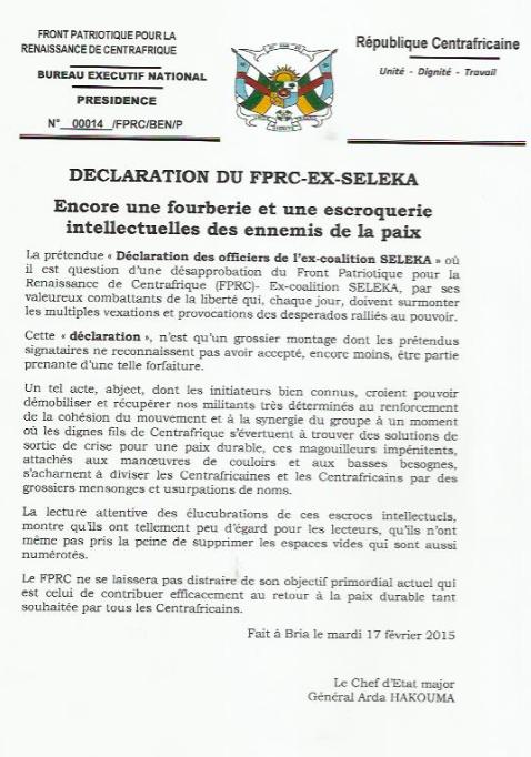 """RCA : """"Encore une fourberie et une escroquerie intellectuelles des ennemis de la paix"""" (FPRC)"""