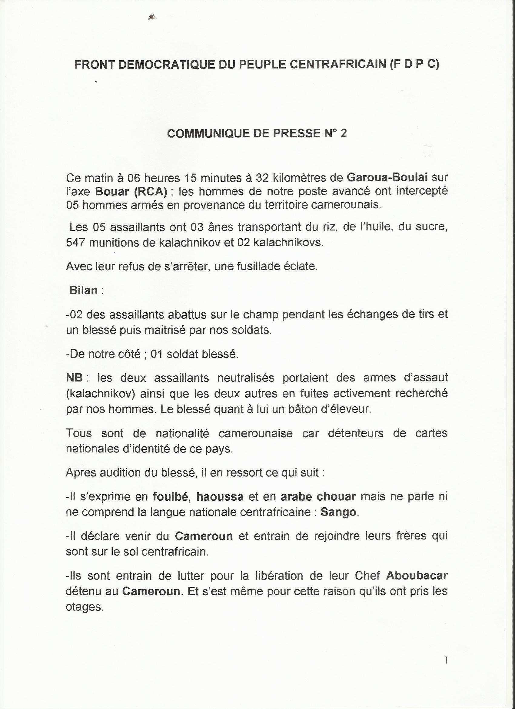 RCA : Fusillade entre combattants du FDPC et des hommes armés