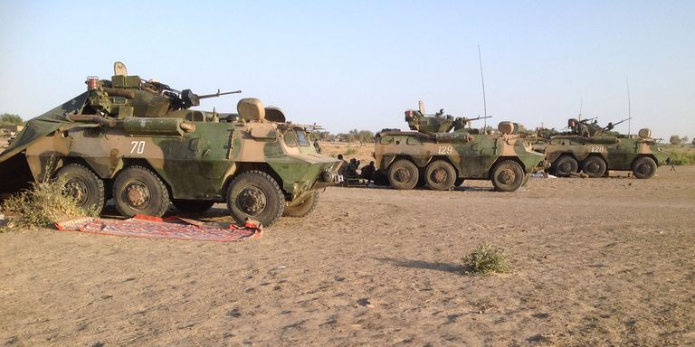 Des blindés de l'armée tchadienne sur le théâtre d'opérations militaires. Crédit photo : Sources