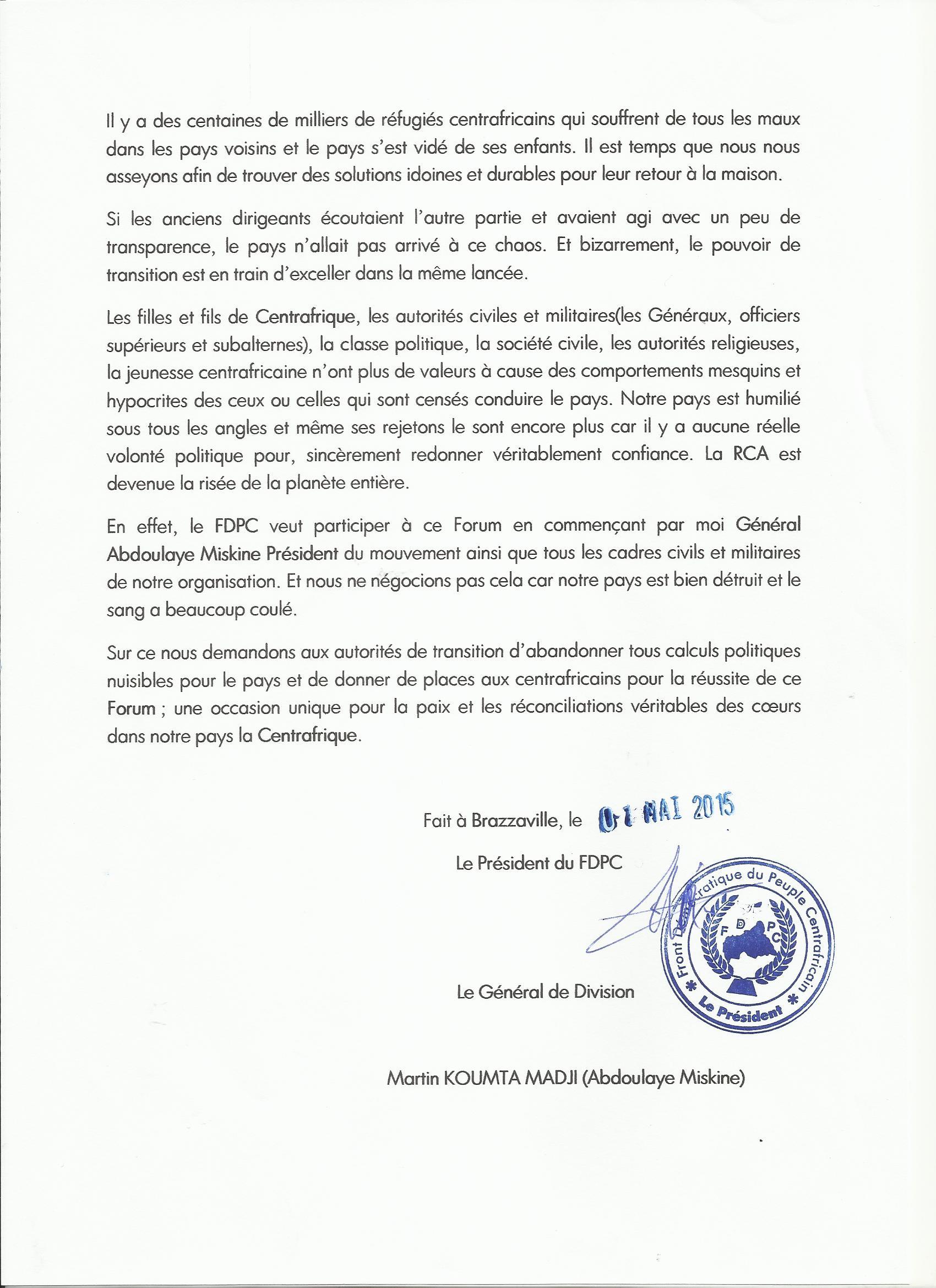 RCA : Le général Miskine demande au gouvernement d'abandonner les calculs politiques