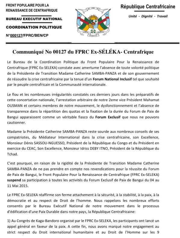 Centrafrique : L'ex-Séléka suspend sa participation au forum de Bangui