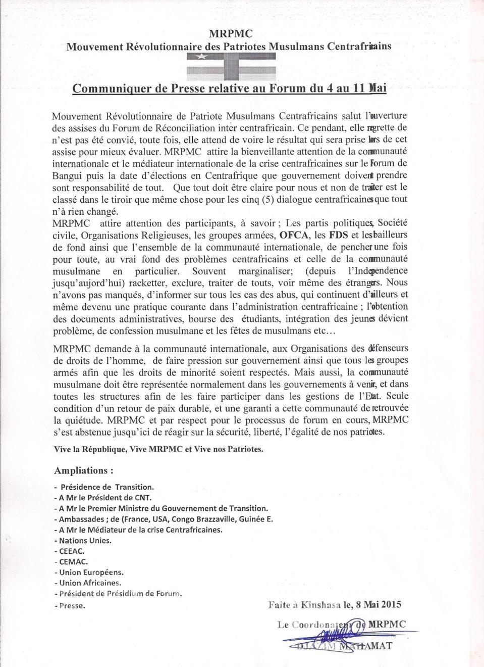 Centrafrique : Le MRPMC demande la protection des minorités