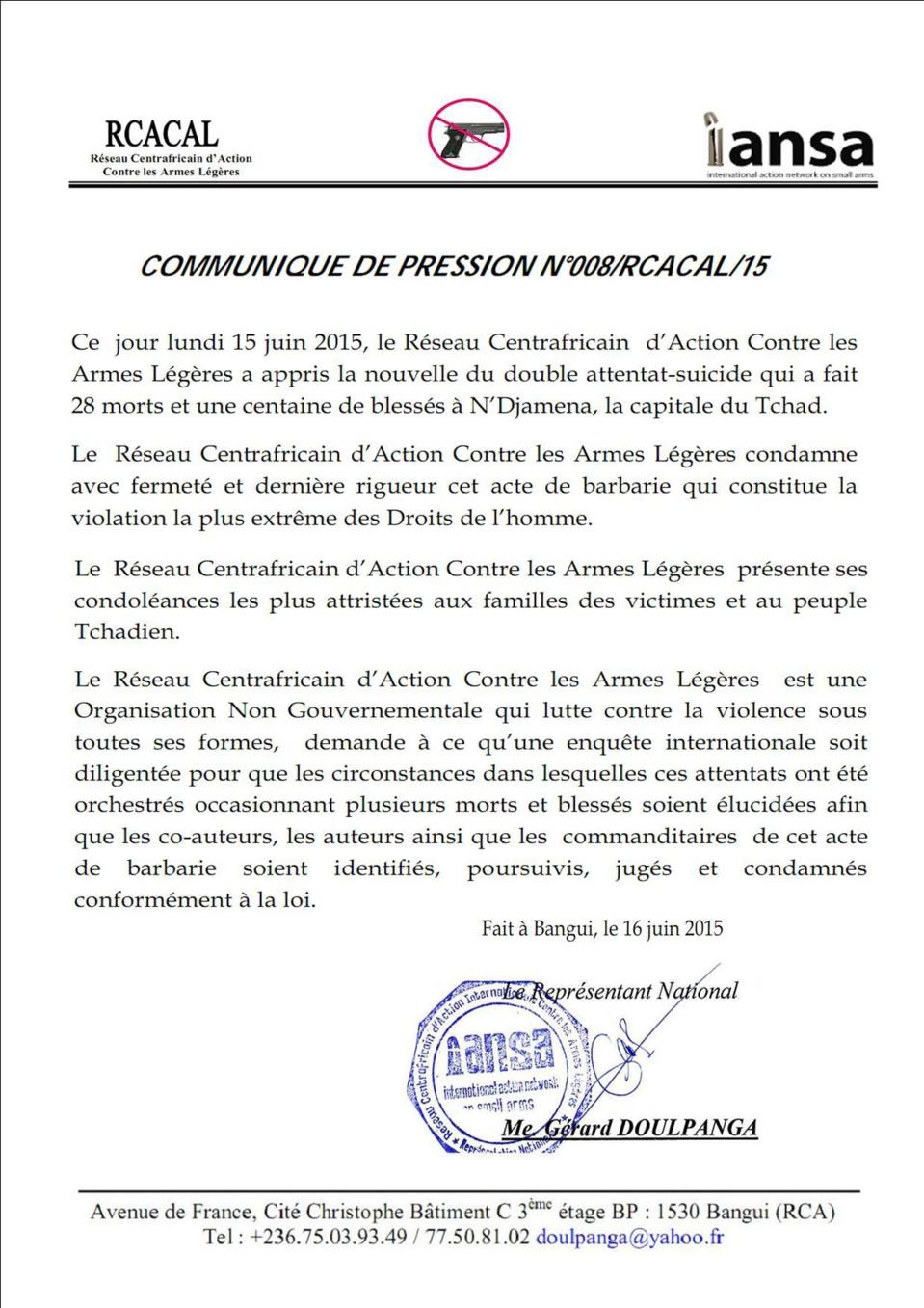 Le Réseau Centrafricain d'Action Contre les Armes Légères condamne les attentats de N'Djamena