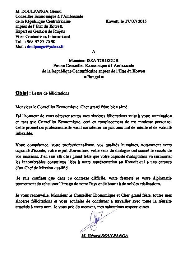Centrafrique : Doulpanga Gérard félicite son successeur à l'Ambassade du Koweit