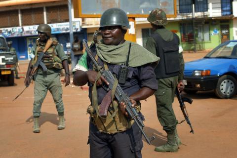 Une patrouille de soldats à Bangui. Crédits: Sources