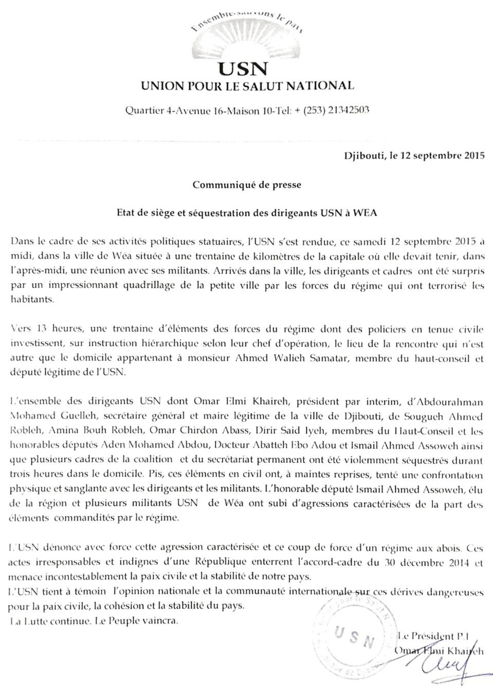 DJIBOUTI : Etat de siège et séquestration des dirigeants USN à Wéa