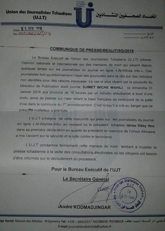 Tchad : L'UJT dénonce des menaces de mort sur des journalistes