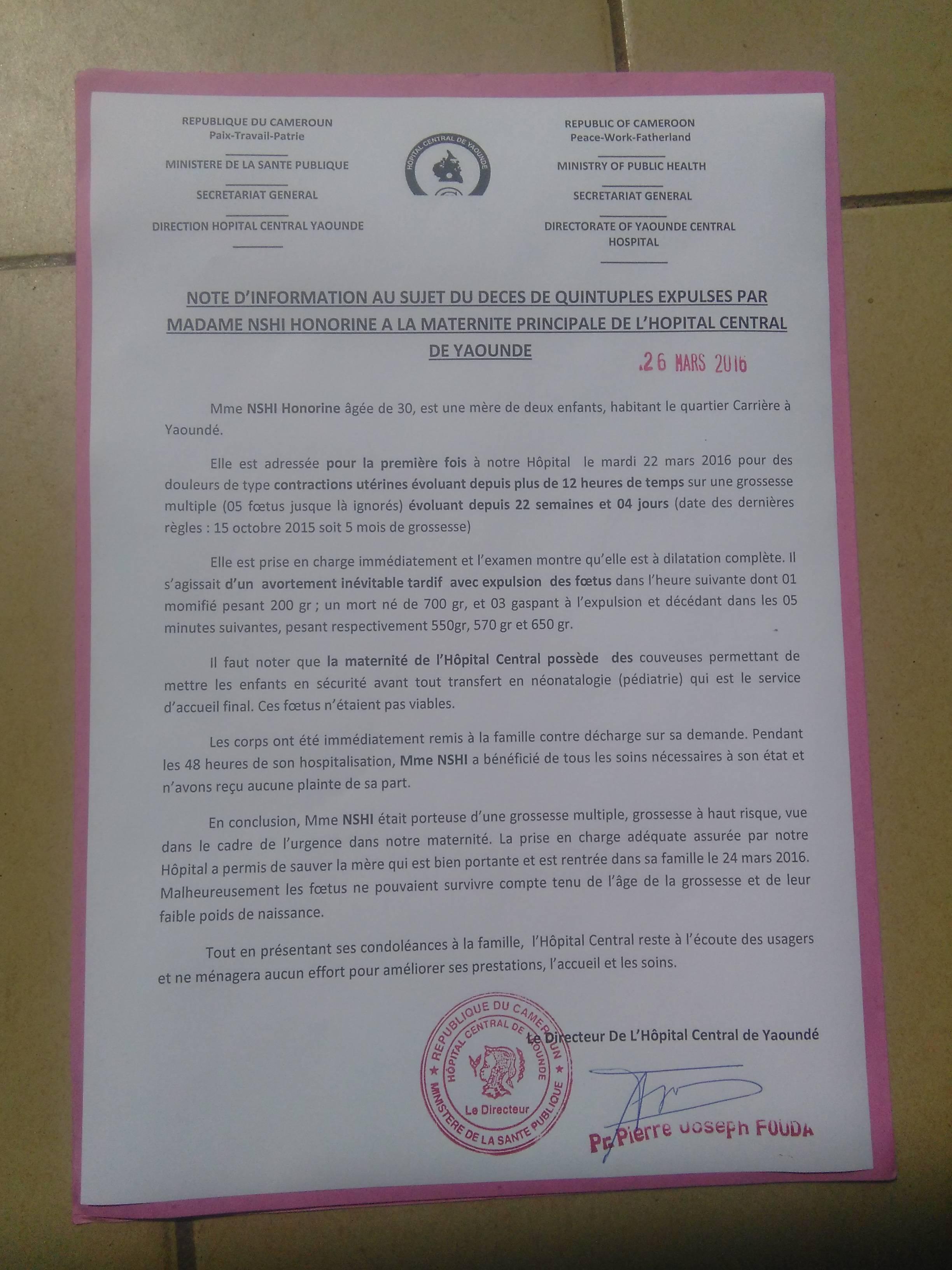 Cameroun:L'hôpital Central de Yaoundé se félicite du décès des quintuplés