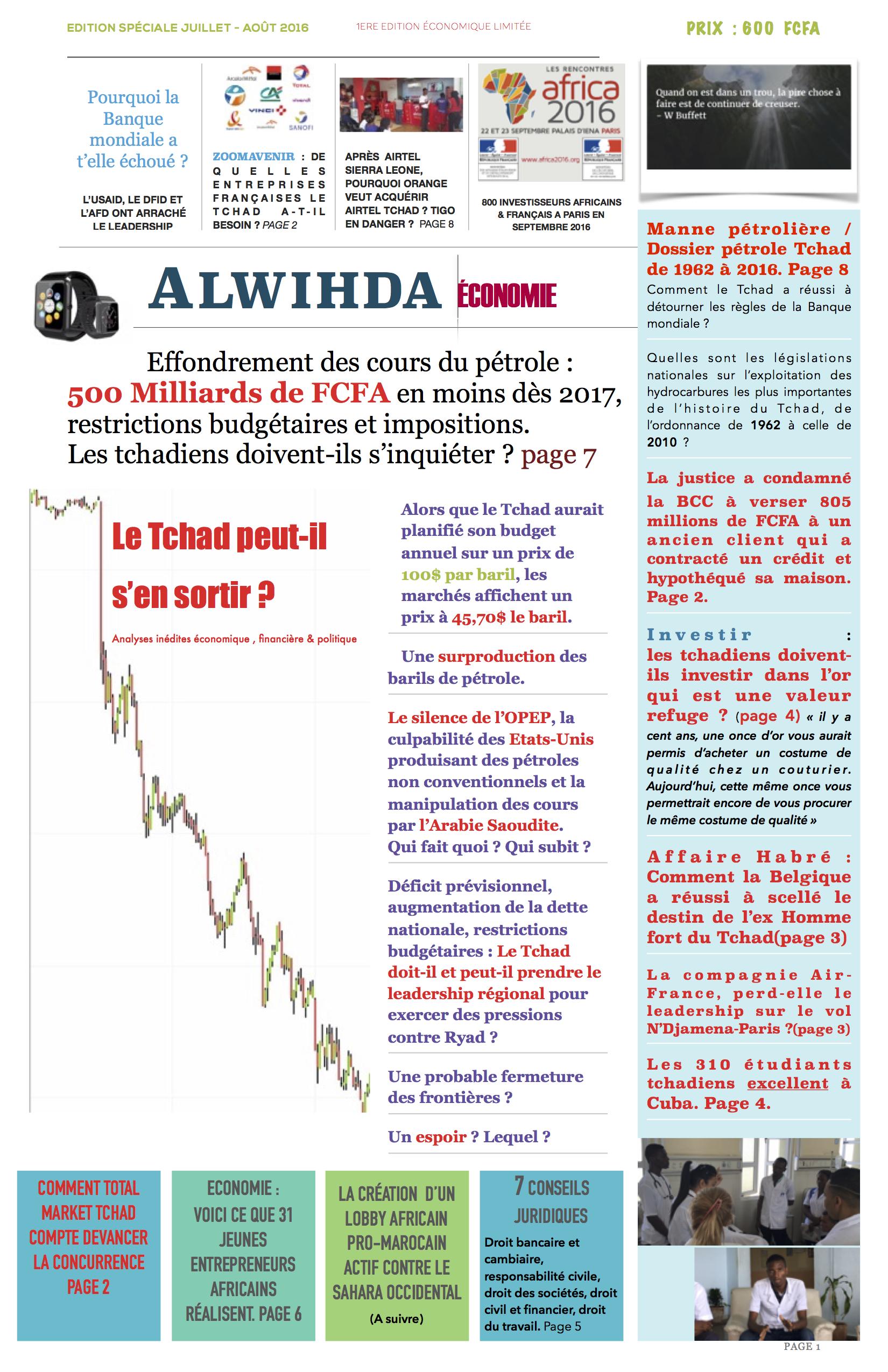 """Découvrez la """"Une"""" du prochain journal Alwihda Economie et réservez-le dès maintenant !"""